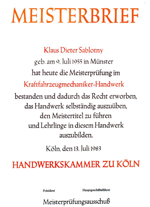 KFZ Meisterbrief von Sablotny KFZ Autowerkstatt