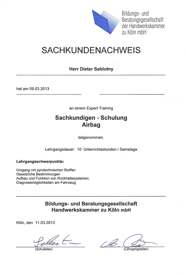 Sachkunde Schulung für Airbags der Handwerkskammer Köln