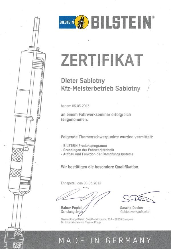 Zertifikat Bilstein Fahrwerkstechnik