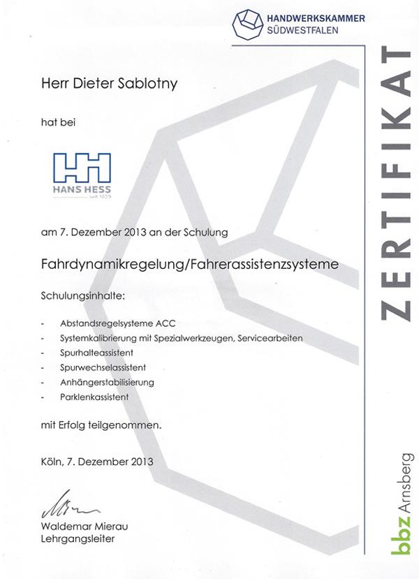 Zertifikat Fahrzeug Assistenzsysteme und FAhrdynamikregelung