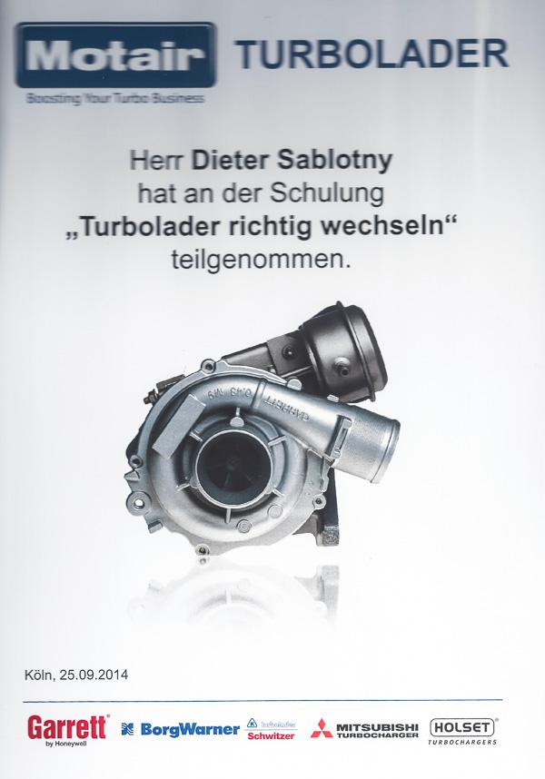 Zertifikat Turbolader Austausch Motair