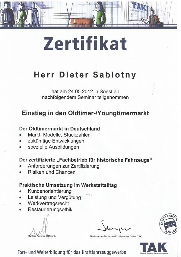 Zertifikat Youngtimer Oldtimer